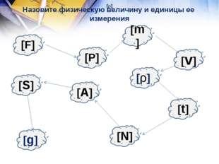 [F] Назовите физическую величину и единицы ее измерения [S] [g] [P] [N] [t] [