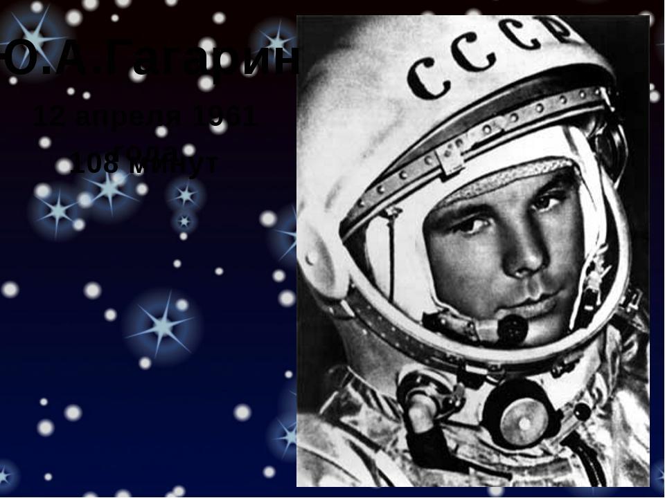 Ю.А.Гагарин 12 апреля 1961 года 108 минут