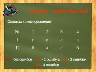 станция СМЕКАЛИСТАЯ Ответы к тестированию: «5» - без ошибок «4» - 1 ошибка «