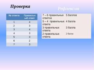 Проверка Рефлексия № ответа Правильный ответ 1 4 2 3 3 4 4 3 5 3 6 2 7 3 7 –