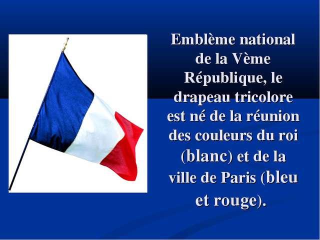 Emblème national de la Vème République, le drapeau tricolore est né de la réu...