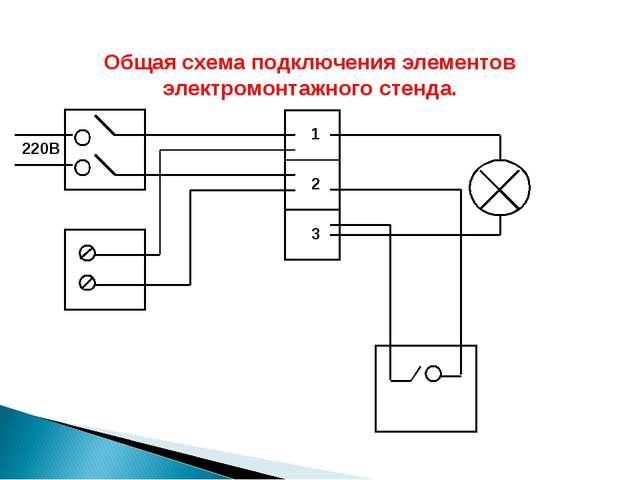 Общая схема подключения элементов электромонтажного стенда. 220В 1 2 3