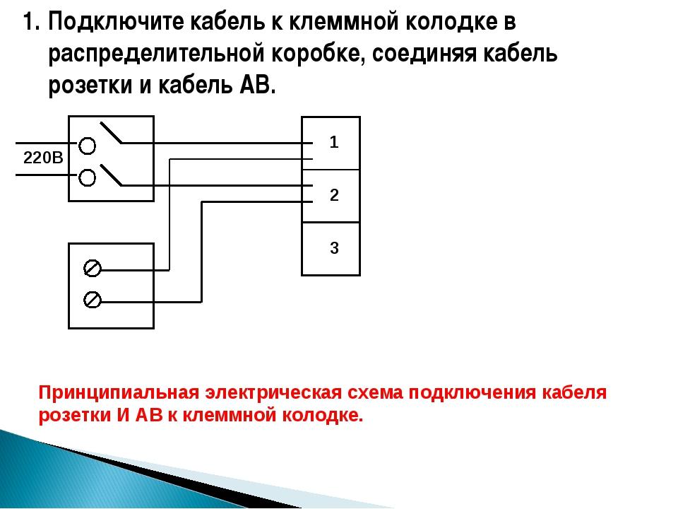 Подключите кабель к клеммной колодке в распределительной коробке, соединяя ка...