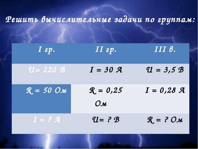Решить вычислительные задачи по группам: Iгр. IIгр. III в. U= 220 В I = 30 А...