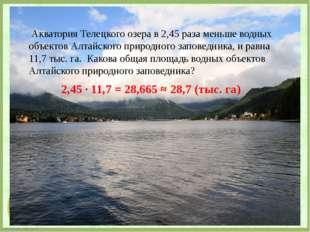 Акватория Телецкого озера в 2,45 раза меньше водных объектов Алтайского прир