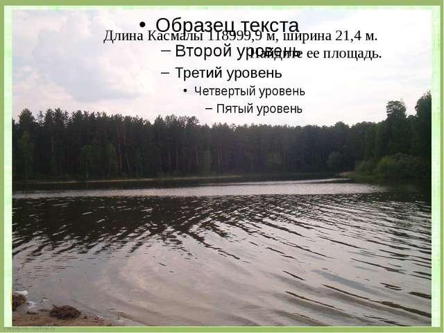 Длина Касмалы 118999,9 м, ширина 21,4 м. Найдите ее площадь. FokinaLida.75@m...