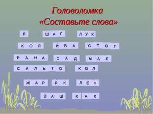 Головоломка «Составьте слова» Я Ш А Г Л У К К О Л И В А С Т О Г Р А Н А С А Д