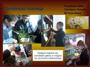 Зелёный сектор Розумный Иван Савченко Никита Мухина Даша Каждую неделю мы пол