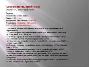 Актуальность проблемы: Результаты анкетирования: Анкета Пиво: пить или не пит