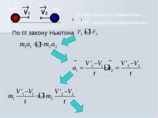 По III закону Ньютона m1 m2 V1 и V2 – скорости до взаимодействия V1 и V2 – ск