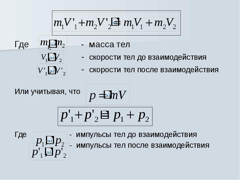 Где - масса тел - скорости тел до взаимодействия - скорости тел после взаимод...