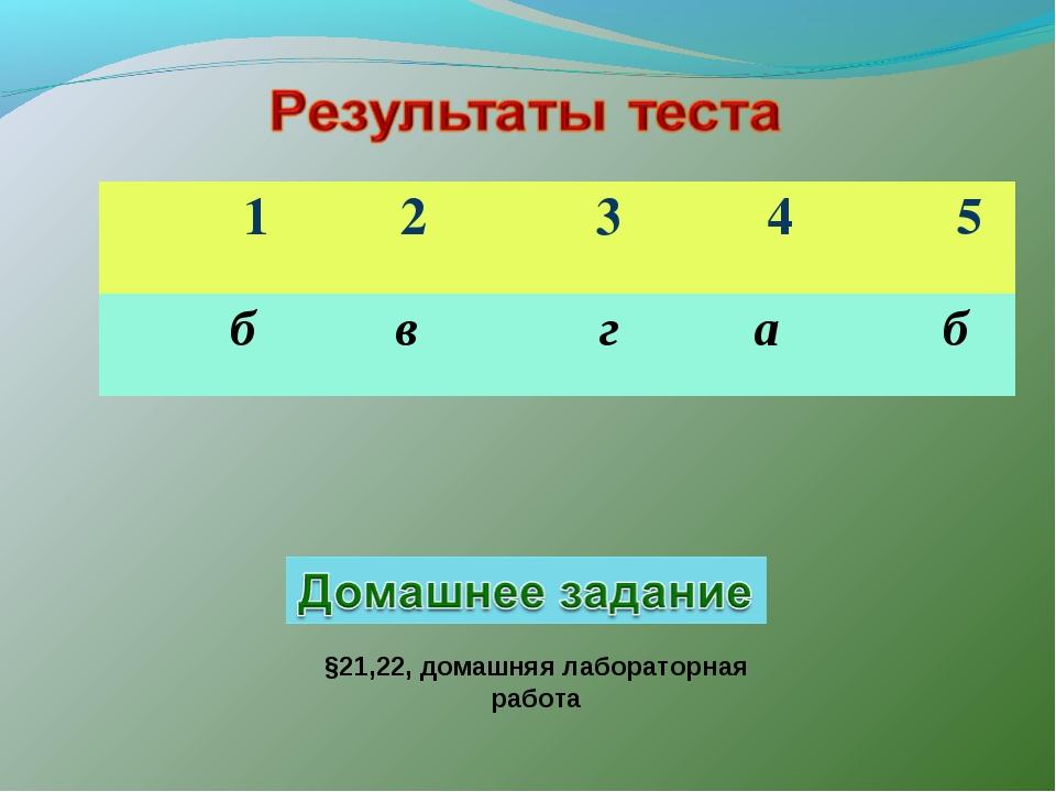 §21,22, домашняя лабораторная работа 1 2 3 4 5 б в  г  а  б