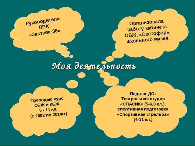 Моя деятельность Организовала работу кабинета ОБЖ, «Светофор», школьного музе...