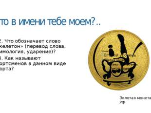 Что в имени тебе моем?.. 5.2. Что обозначает слово «скелетон» (перевод слова,