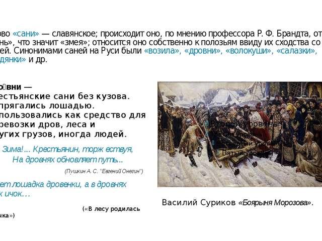 Слово «сани»— славянское; происходит оно, по мнению профессора Р.Ф.Брандта...