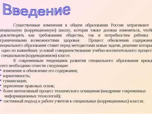 Существенные изменения в общем образовании России затрагивают и специальную