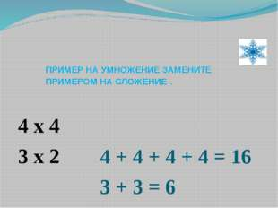 ПРИМЕР НА УМНОЖЕНИЕ ЗАМЕНИТЕ ПРИМЕРОМ НА СЛОЖЕНИЕ . 4 x 4 3 x 2 4 + 4 + 4 + 4