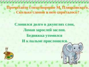 Слонялся долго в джунглях слон, Ломая зарослей заслон. Бедняжка утомился И к