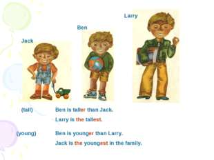 Jack Larry Ben Ben is younger than Larry. Jack is the youngest in the family.