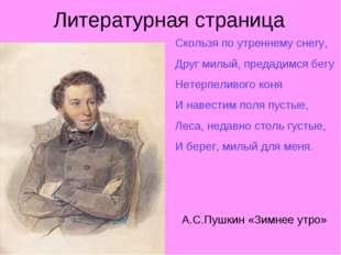 Литературная страница Скользя по утреннему снегу, Друг милый, предадимся бегу