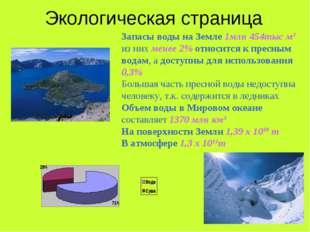 Экологическая страница Запасы воды на Земле 1млн 454тыс м3 из них менее 2% от
