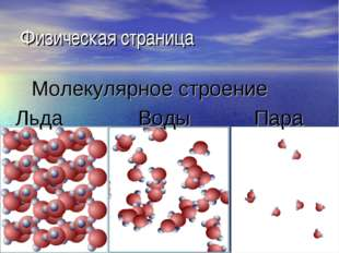 Физическая страница Молекулярное строение Льда Воды Пара