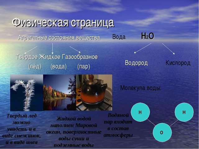Физическая страница Агрегатные состояния вещества Твёрдое Жидкое Газообразное...