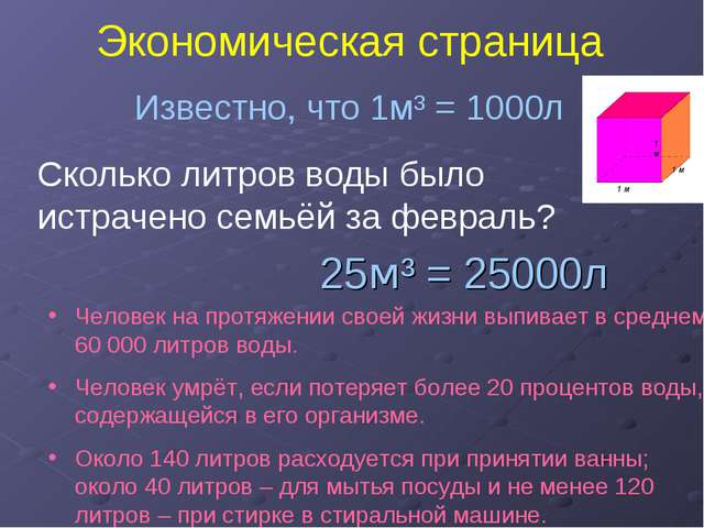 Экономическая страница Известно, что 1м³ = 1000л Сколько литров воды было ист...