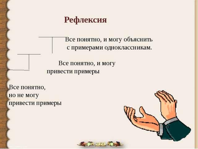 Рефлексия  Все понятно, и могу объяснить  с примерами одноклассникам. Все...