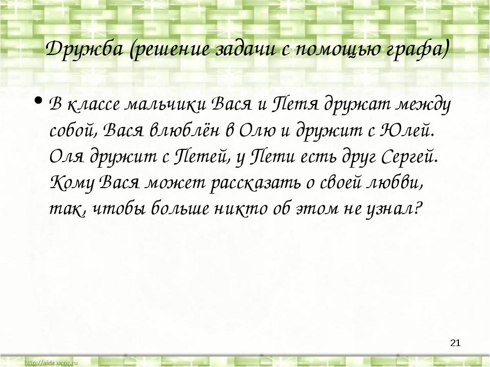 * Дружба (решение задачи с помощью графа) В классе мальчики Вася и Петя дружа...