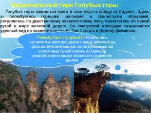 Национальный парк Голубые горы Голубые горы находятся всего вчасе езды кзап
