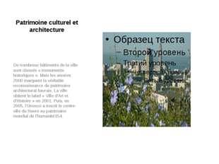Patrimoine culturel et architecture De nombreux bâtiments de la ville sont cl