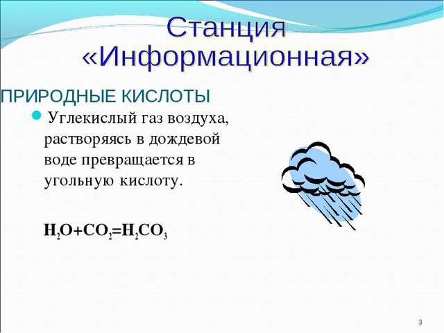 ПРИРОДНЫЕ КИСЛОТЫ Углекислый газ воздуха, растворяясь в дождевой воде превращ...