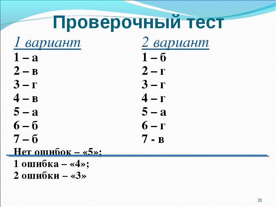 Проверочный тест * 1 вариант 1 – а 2 – в 3 – г 4 – в 5 – а 6 – б 7 – б Нет ош...
