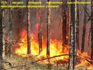 90% лесных пожаров являются последствием неосторожного обращения с огнем!