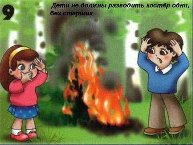 Дети не должны разводить костёр одни, без старших . 1