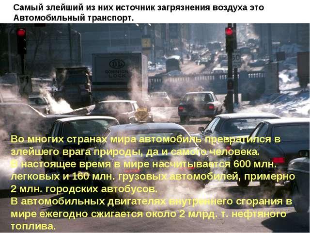 Во многих странах мира автомобиль превратился в злейшего врага природы, да и...