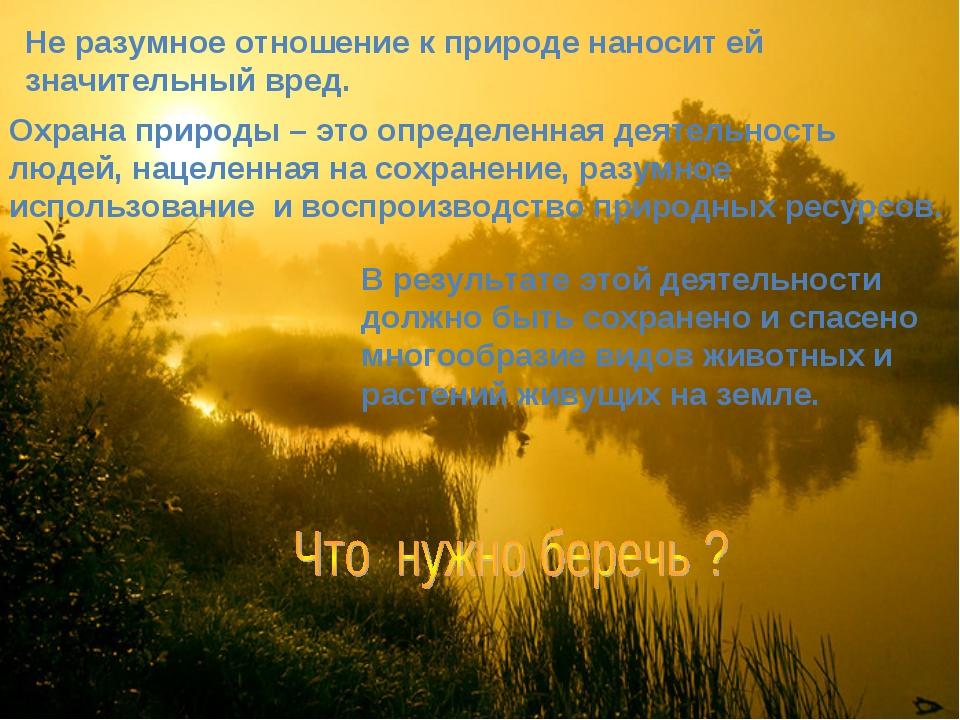 Не разумное отношение к природе наносит ей значительный вред. Охрана природы...