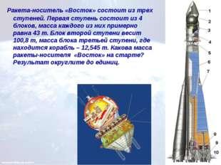 Ракета-носитель «Восток» состоит из трех ступеней. Первая ступень состоит из