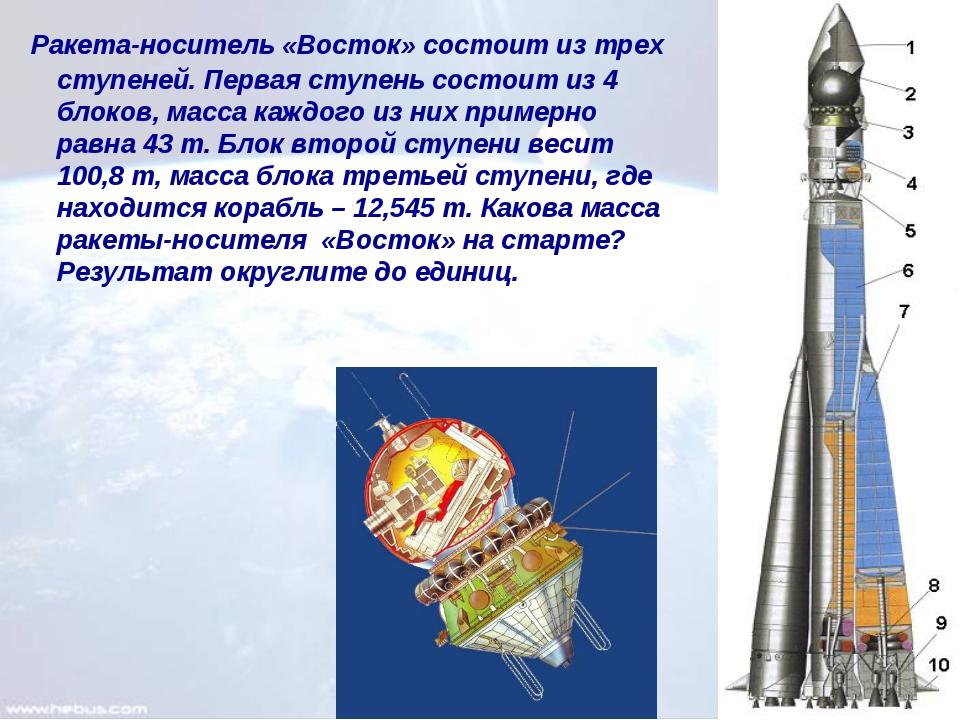 Ракета-носитель «Восток» состоит из трех ступеней. Первая ступень состоит из...