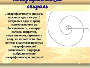 Логарифмическая спираль Логарифмическую спираль можно увидеть на рис.1. Спира