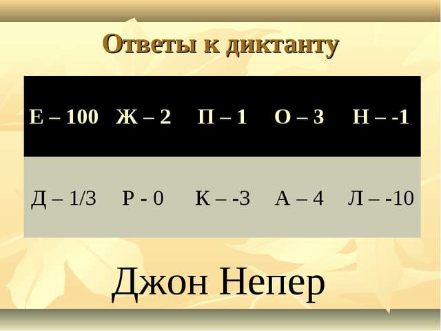 Ответы к диктанту Джон Непер Е – 100Ж – 2П – 1О – 3 Н – -1 Д – 1/3Р - 0...