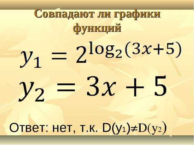 Совпадают ли графики функций Ответ: нет, т.к. D(y1)≠D(y2)