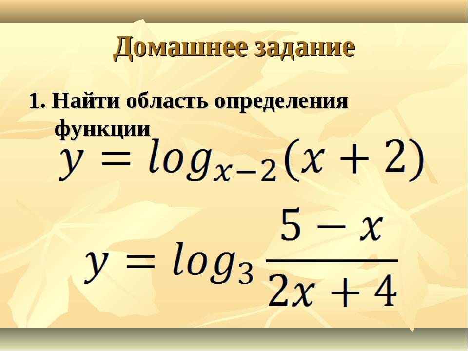 Домашнее задание 1. Найти область определения функции
