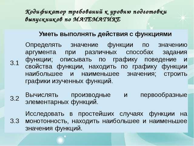 Кодификатор требований к уровню подготовки выпускников по МАТЕМАТИКЕ Уметь вы...