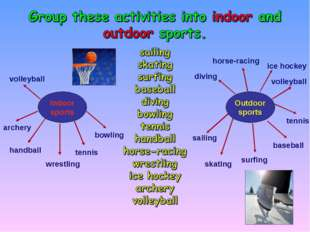 tennis archery Indoor sports bowling tennis wrestling handball volleyball Out