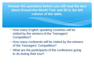 How many English speaking countries will be visited by the winners of the Tee