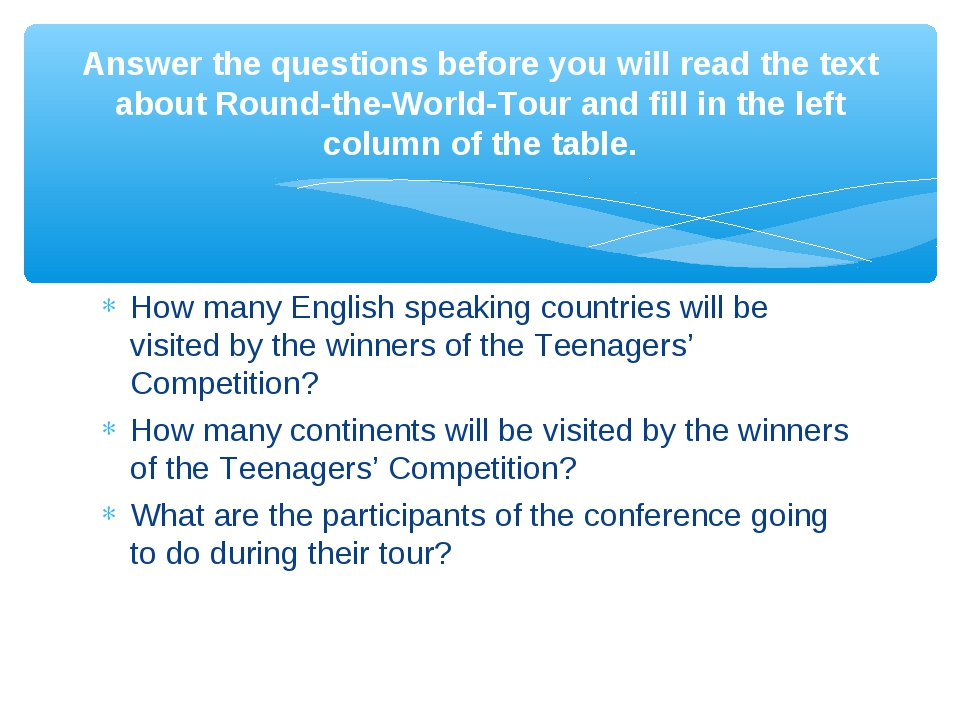 How many English speaking countries will be visited by the winners of the Tee...