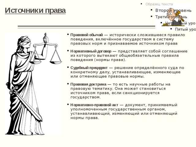 Источники права Правовой обычай— исторически сложившееся правило поведения,...
