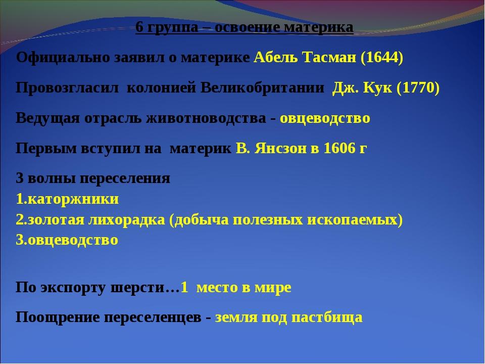 6 группа – освоение материка Официально заявил о материке Абель Тасман (1644)...